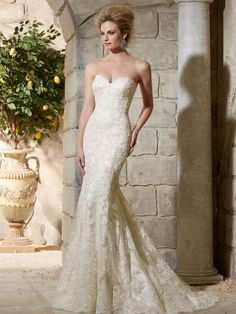 88161088b8 Morilee Bridal Alencon Lace on Net Over Soft Satin with Crystal Beading  Wedding Dress - Morilee