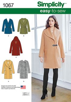 Great fall jacket! Easy to sew unlined coat or jacket with collar, hood and button or tie closure options.
