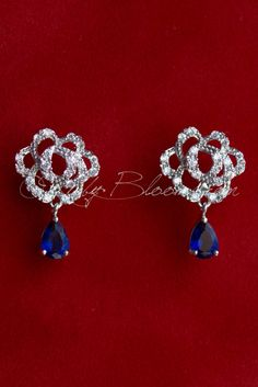Ruby Blooms is pleased to offer you Timeless, Luxury and Feminine Style - Crystal Cubic Zirconia wedding / bridal earrings. Charming, elegant sparkling jewelry accessory for your Silver Blue theme Wed