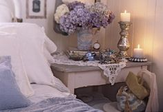 lavender bedroom - guest bedroom/nursery inspiration - love the mercury glass!