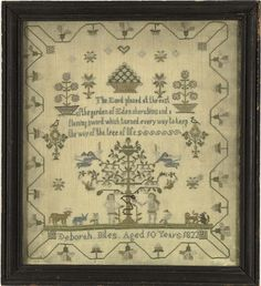 Outstanding Dated 1822 Adam & Eve Sampler, (2004, Spring Americana and Decorative Arts, May 22)