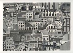 El trabajo de Dan Opheim se basa en la técnica del collage. Empalmado en secciones y luego recompuesta de manera aleatoria, sus dibujos W / B en su mayoría de escenas urbanas, restos de automóviles y cabinas son un ejercicio de la investigación para una franja ideal entre el realismo y la abstracción.