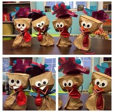 Making Paper bag Turkeys! Reinforce shape identification, color identification, fine motor control, and ability to follow directions.  Flippin' adorable!!!
