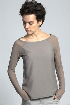 #Long sleeve top with sheer raglan sleeves by ColeHands on Etsy