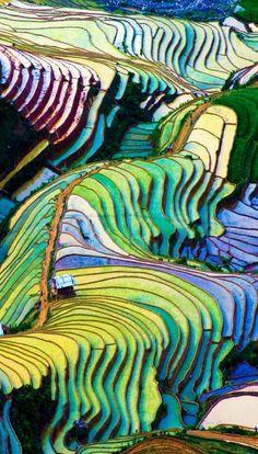 Rainbow hills in Vietnam.