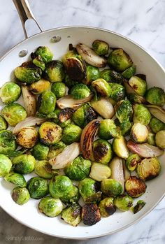 Roasted Brussels Sprouts and Shallots with Balsamic Glaze | Skinnytaste