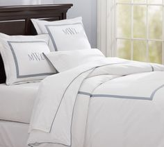 pottery barn bedding.  tip for best and most inexpensive decorating.  I have this bedding in white and Red.  Love it.  I bought the shams and one pillow and monogrammed it.  Then I bought a white Egyptian cotton duvet cover for 50.00 on Amazon.  The bed is beautiful and I saved about 200 dollars and got my Pottery Barn look.