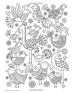 """Notebook Doodles Super Cute: Coloring & Activity Book"" by Jess Volinski Bird Drawings, Doodle Drawings, Easy Drawings, Doodle Art, Colouring Pages, Adult Coloring Pages, Coloring Books, Embroidery Stitches, Embroidery Patterns"