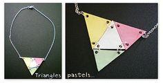 Collier triangles en plastique fou (plastique dingue / shrink plastic)