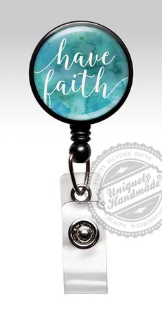 This retractable ID badge holder features an inspirational saying have faith in white letters over a watercolor background of blues and greens. ID Badge reels are ideal for Medical staff, Nurses, Doctors, Teachers, Students, Government and Transportation workers who are required to wear identification. I say...why not look stylish while wearing one!  These Retractable Badge Reels, ID Badges, Badge Holders, Swivel Clip Reels are the best choice for Doctors, Nurses and Hospital Staff! Clip…