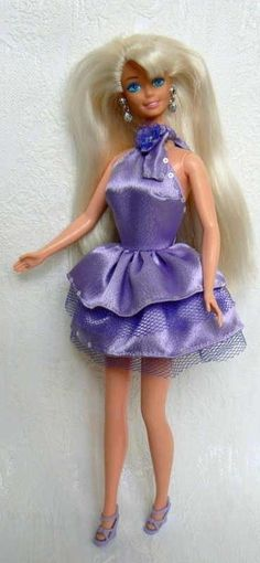 Vintage BArbie in purple Frock