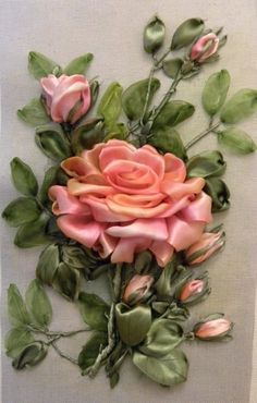 Wonderful Ribbon Embroidery Flowers by Hand Ideas. Enchanting Ribbon Embroidery Flowers by Hand Ideas. Ribbon Art, Diy Ribbon, Ribbon Crafts, Flower Crafts, Ribbon Embroidery Tutorial, Silk Ribbon Embroidery, Embroidery Patterns, Embroidery Thread, Machine Embroidery