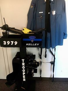 LeoRackz is a custom Law Enforcement Duty Equipment rack. Handmade with durable wood painted in flat black with standard thin blue line. This duty rack includes a duty belt rack, vest rack, solid wooden box to hold your radio and docking station and 0.50 cal ammo can that holds up to two weapons and four magazines. Each standard duty rack is $180. Payment can be made via ESTY to ensure a safe and secure transaction. Cost of shipping not included in price. Customization can be done for…