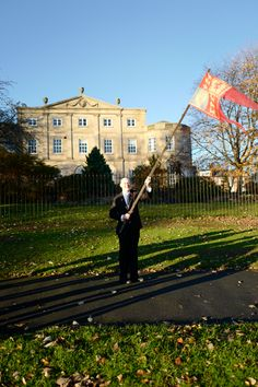 Duncan McCargo carrying Madge Howdill Armistice Flag from on Sunday November Image Copyright to Duncan McCargo. Peace Meaning, Leeds City, City Museum, Banners, Scotland, November, Louvre, Flag, Sunday