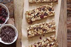 Homemade Granola Bars with dried cranberries, golden raisins and mini chocolate chip cookies! Perfect for breakfasts, snacks and a sweet treat.