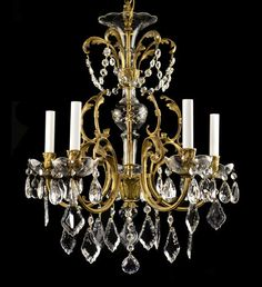 Antique Bronze Chandelier Vintage Brass Crystal Glass French Italian Empire Gold $995.00