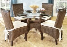 """Abaco Rattan ~ Love the texture it would add to the room. Table measures 45"""" Round x 29"""" High 5pc set $499.99 Chairs measure 20Lx24W(width of leg) x 39.5H at back."""