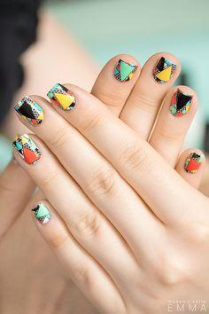 Geometric nail art.