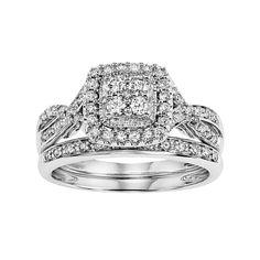 Simply Vera Vera Wang 14k White Gold 1/2 Carat T.W. Certified Diamond Square Halo Engagement Ring Set, Women's, Size: