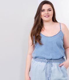 Blusa Jeans Curve   Plus Size - Lojas Renner 34244a057fe
