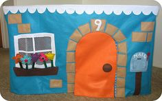Card table playhouse tutorial and templates. All four sides are finished with interactive velcro elements! Store away in a bag when not in use. Clever!!