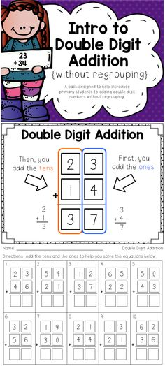 Everything you need to introduce double digit addition without regrouping!