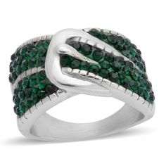 DEEP GREEN AUSTRIAN CRYSTAL BUCKLE CIGAR BAND RING STAINLESS STEEL RING SIZE 7 #L2D #FASHIONSTATEMENT