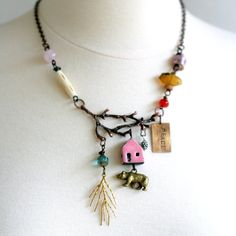 Tree Branch Beaded Statement Necklace, Nature Jewelry, Chunky Necklace, Tribal Jewelry. $68,00, via Etsy.