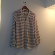 Perfect work blouse Grayish and cream stripes. In Perfect condition. Somewhat sheer. Pretty shirt. Will Smith Tops Blouses
