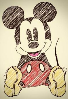 Mickey Mouse drawn with pens
