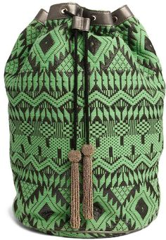 Asos Metallic Trim Duffle Backpack in Geo-Tribal - Green on shopstyle.com