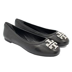 Tory Burch Laura Shoes Ballet Flats Mestico Leather TB Logo 75 Black Silver ** Click on the affiliate link Amazon.com on image for additional details.