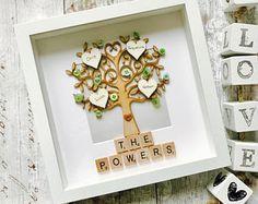 Family Tree Frame, Personalised Family Tree Gift, Family Tree Gift, Family Picture Frame, Gift for Families, Wedding Family Tree Box Frame