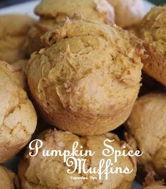 Pumpkin Spice Muffins - 1 box yellow cake mix, 1 can pumpkin, 1 tsp pumpkin spice, bake @ 350 for 16-20 min