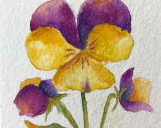 Watercolor of Violets Art Card Original Painting Art Work Floral Watercolor ACEO Artist Trading Card