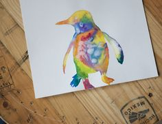 Watercolor Penguin by TheLovingArt on Etsy, $35.00