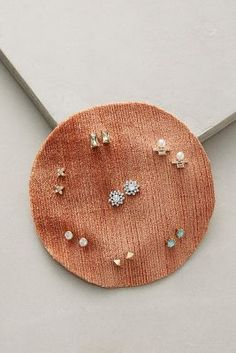 Use fabric to hang your stud earrings!