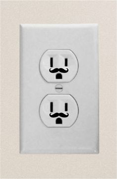 Wall Plug Electric Outlet Mustache Funny High by FiveStarStickers, $7.99
