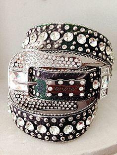 """S-M-L-XL 1"""" Strap BHW Western Cowgirl Belt Rhinestone Women Bling Leather Camo #BHW"""