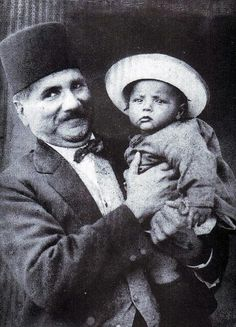 Muhammad Allama Iqbal the national poet of Pakistan with his son