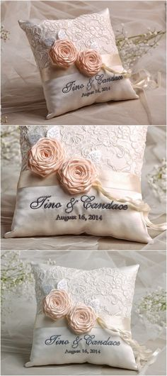 Vintage lace wedding ring bearer pillow @4LOVEPolkaDots