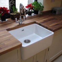 Astini Belfast 600 1.0 Bowl Traditional White Ceramic Kitchen Sink, Waste & Tap