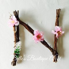Wooden letters names, flower wall letters, Rustic wooden twig letters, floral woodland nursery decor Rustic Wall Letters, Letter Wall, Wooden Letters, Diy Arts And Crafts, Crafts For Kids, Diy Crafts, Wooden Crafts, Picture Letters, Paper Flowers Diy