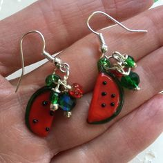 Watermelon Slice Red Green Lampwork Glass Dangle by doodaba Red Earrings, Glass Earrings, Watermelon Slices, Tote Bags Handmade, Vintage Pink, Crystal Beads, Red Green, Dangles, Silver