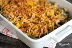 Cheesy Green Bean Casserole with Bacon (without canned soup) but with bacon