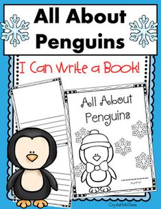 """My students love to write books! I created this book template for my kinders to use as they write a book titled, """"all about penguins"""". This set includes a…"""