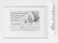 Personalised New Baby Boy/Girl Winnie The Pooh Quote Nursery