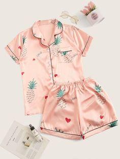 Eyelash Pineapple Print Satin Pajama Set - Pajama Sets - Ideas of Pajama Sets - Eyelash Pineapple Print Satin Pajama Set Cute Pajama Sets, Cute Pjs, Cute Pajamas, Cute Sleepwear, Sleepwear Women, Pajamas Women, Satin Pyjama Set, Satin Pajamas, Pyjamas