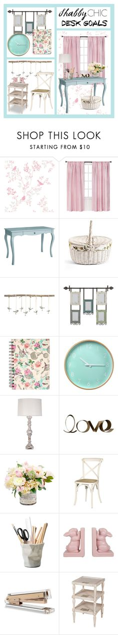 """""""Shabby Chic Desk Goals"""" by city-mom ❤ liked on Polyvore featuring interior, interiors, interior design, home, home decor, interior decorating, Shabby Chic, Pier 1 Imports, Uttermost and claire's"""