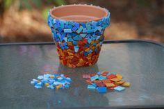 DIY Easy Mosaic Pot (shown pre-grout)